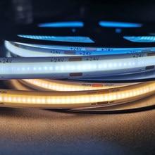 COB LED Strip Light 384 512 528 Leds/m Dimmable Flexible Light Strip DC 12 24V Warm Cold White Soft Tape TV Background Car Decor