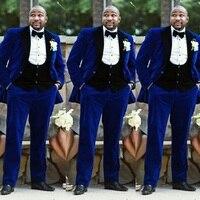 Royal Blue Velvet Smoking Jacket Black Lapel and Vest Men Suits for Wedding Slim Fit Man Blazer Tuxedos Terno Masculino Groom