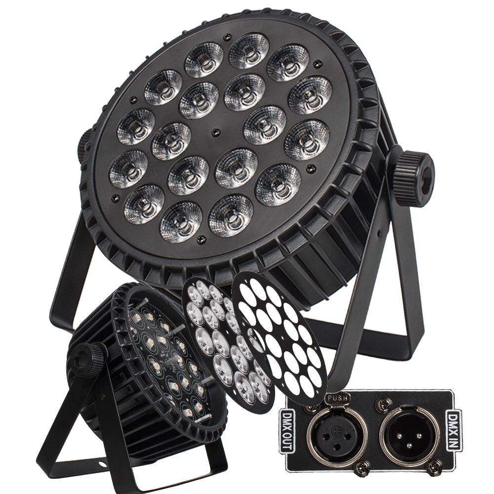 4 יח'\חבילה אלומיניום סגסוגת LED שטוח Par 18x18W תאורת DJ Par פחיות אלומיניום סגסוגת DMX 512 אור DMX Dj לשטוף תאורת שלב אור