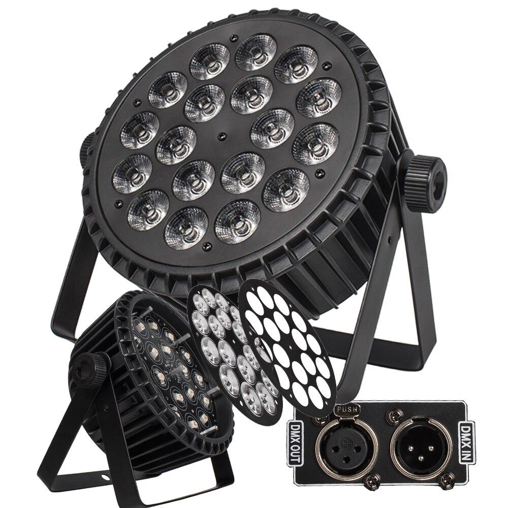 4 unids/lote de aleación de aluminio LED Par plano 18x18W Iluminación DJ Par latas de aleación de aluminio DMX 512 luz DMX Dj iluminación de escenario