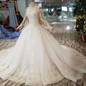 Image 3 - HTL108 bohemian wedding dress like white off the shoulder boat neck long tulle appliques sleeves розовое платье