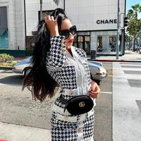2019 new fashion luxury style black two piece outfits for women high quality wool tweed suit jacquard 2 piece set plaid dress