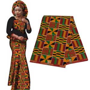 Image 2 - 2020 רויאל שעווה בטיק הדפסי אפריקה בד השמפניה 100% כותנה אנקרה קנט אמיתי שעווה Tissu האיכות הטובה ביותר עבור מפלגה שמלה handmake