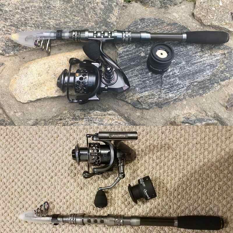 Sougayilang poteau de canne à pêche en Fiber de carbone et 13 + 1BB moulinet de pêche Combo télescopique pôle de pêche Kit de moulinet de filature