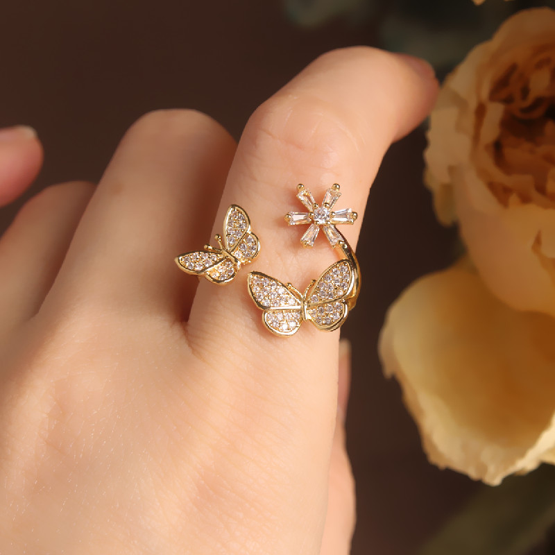 Jewelry Prom-Ring Flower-Opening Finger Adjustable Butterfly Korean Zircon Female New-Fashion