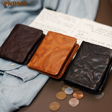 PNDME fashion vintage genuine leather men's women's pleated wallets simple casual luxury natural real cowhide teens coin purse