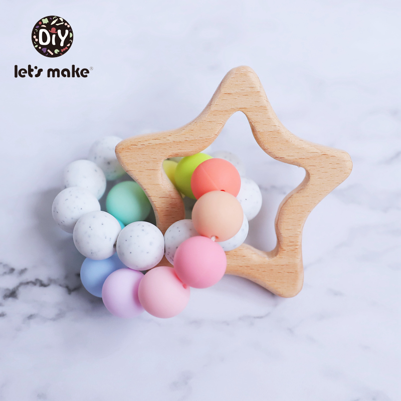 Let's Make Baby Rattle Beech Wooden Star Silicone Beads Food Grade Teething Toys Baby Toys Rattles For Kids To A Year Montessori