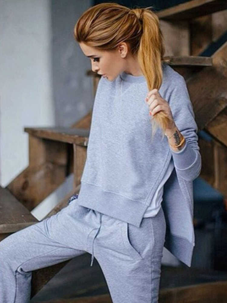 2020 Herfst En Winter Europese En Amerikaanse Vrouwen Hot Stijl Effen Kleur Twee Stuk Pak Onregelmatige Split Trui trui Pak