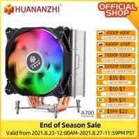 HUANANZHI A400/A500 2/4 مروحة تبريد وحدة المعالجة المركزية ، أنبوب تسخين نحاسي LED ، مروحة تبريد صامتة مفردة/مزدوجة