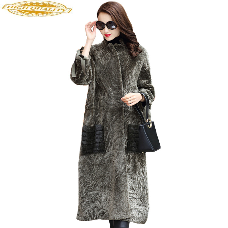 Real Fur Coat Female Double-faced Fur Coats 2020 Winter Jacket Women Sheep Shearling Jackets Natural Mink Pocket WYQ2038