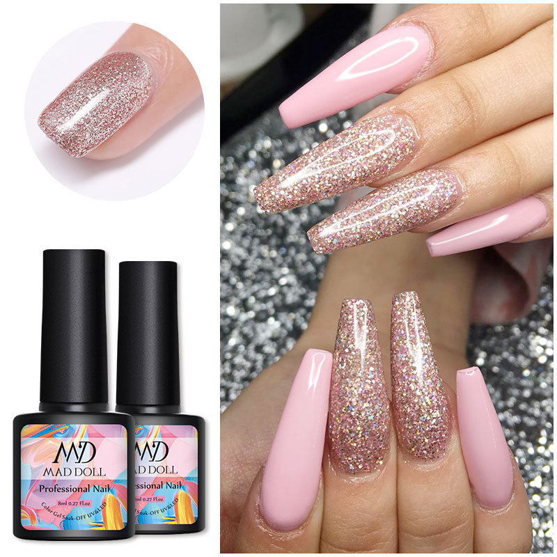 6 Bottles/Kit 8 Ml MAD DOLL Solid Color And Scintillating UV Gel Nail Bling Sequins Soak Off LED Nail UV Gel Polish Gel Lacquers