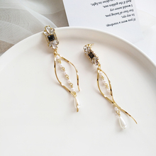 2019 Tassel Pearl Rhinestone chain eardrop long exaggerated big earrings female curve temperament earrings party accessories rhinestone long chain earrings