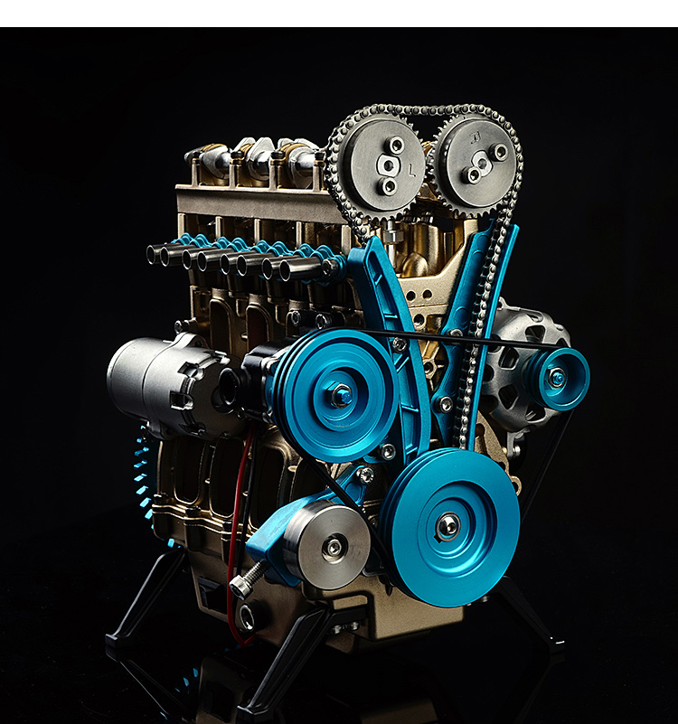 Gift Full Metal Assembled Four-Cylinder Inline Gasoline Engine Model Building Kits for Researching Industry Studying