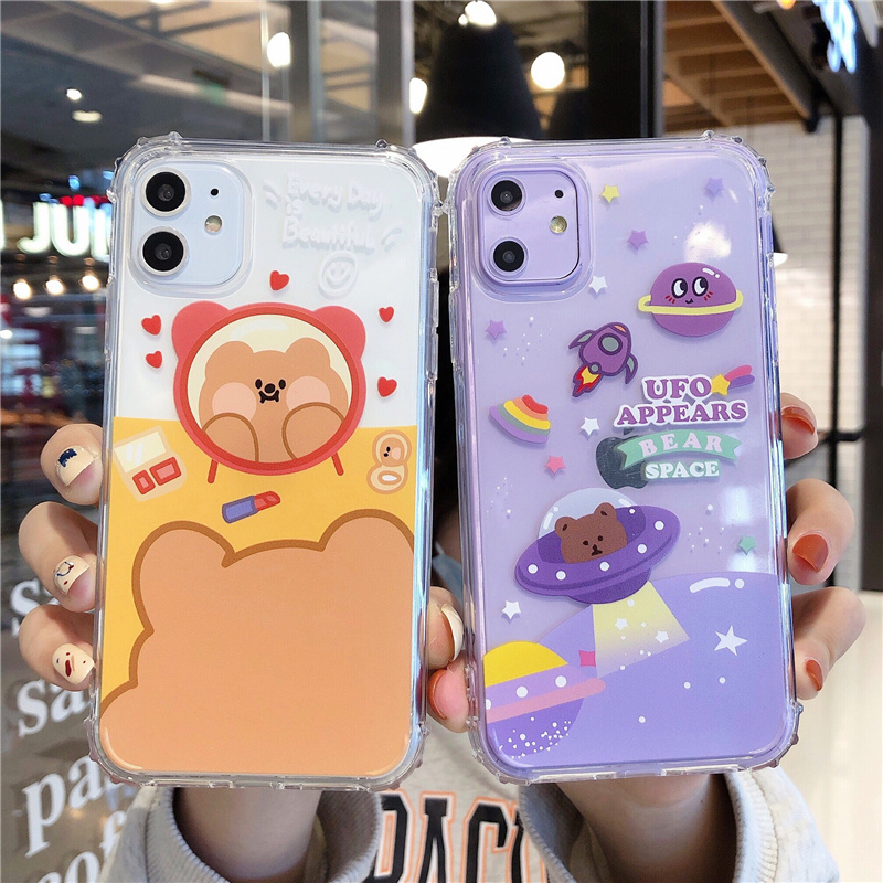 Space bear anti-knock <font><b>case</b></font> for <font><b>iPhone</b></font> 11Pro coque <font><b>iphone</b></font> XS MAX X XR <font><b>6S</b></font> <font><b>Plus</b></font> 6 7 8 cute <font><b>makeup</b></font> bear heart soft clear cover shell image