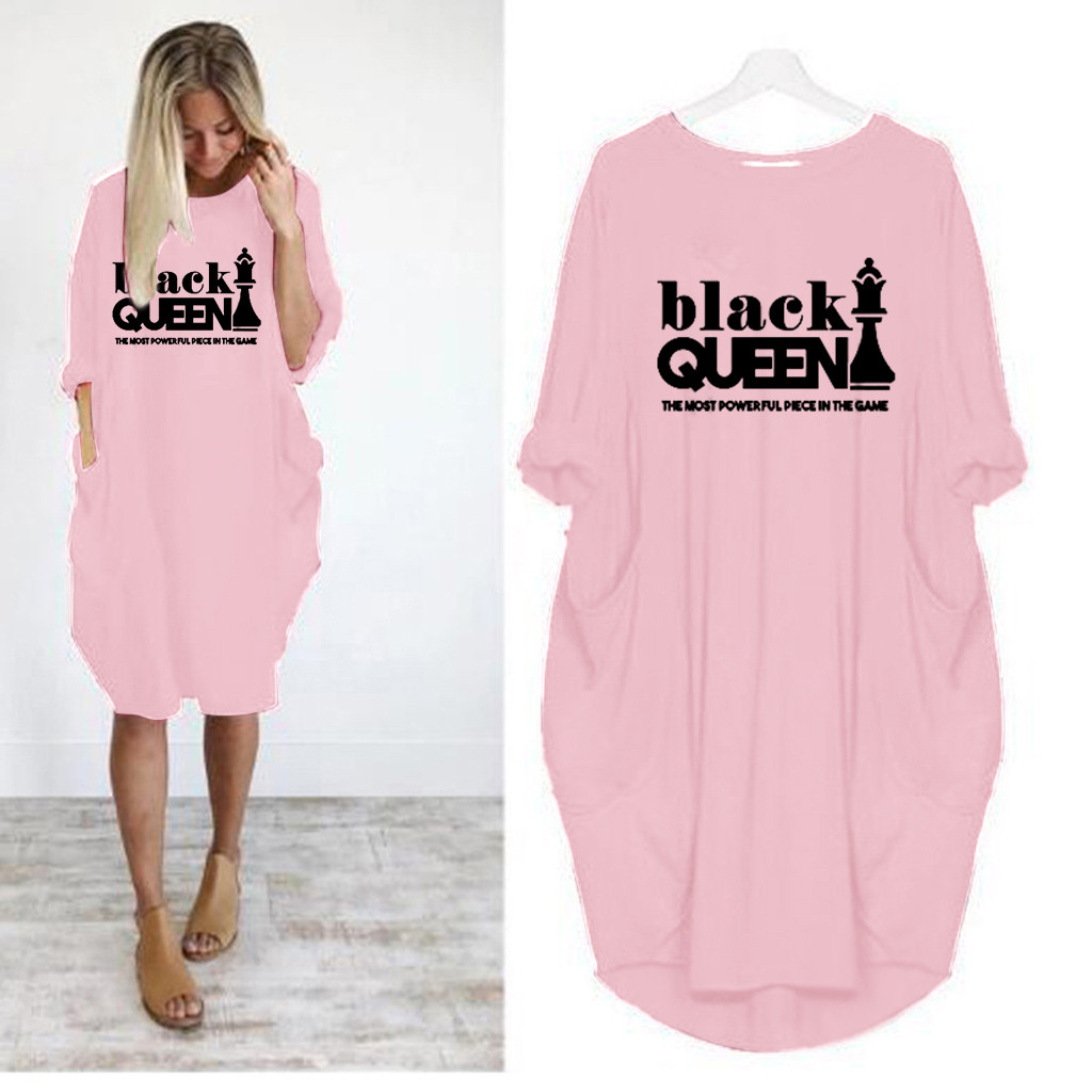 Women Oversized Dress Long Sleeve Letter Black QUEEN Tunic Dress Plus Size Shirt Dress Baggy Pockets Short Jumper Dress Dropship
