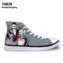 THIKIN Joker Harley Quinn Print Classic Women High Top Canvas Shoes