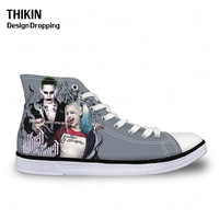 THIKIN Joker Harley Quinn Print Classic Women High Top Canvas Shoes Cool Casual Lace up Vulcanize Shoes for Ladies Autumn Female