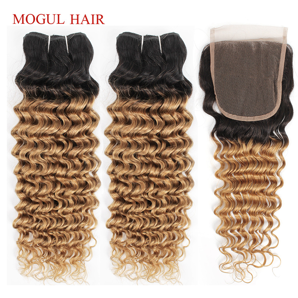 MOGUL HAIR Ombre Honey Blonde Bundles With Closure 1B 27 Deep Wave Brazilian Hair Weave Non Remy Human Hair Extension