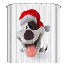 Lovely Dog Shower Curtain Waterproof Mildew Polyester Fabric Shower Curtain Kid Bathroom Christmas Decor CM christmas balls waterproof fabric shower curtain