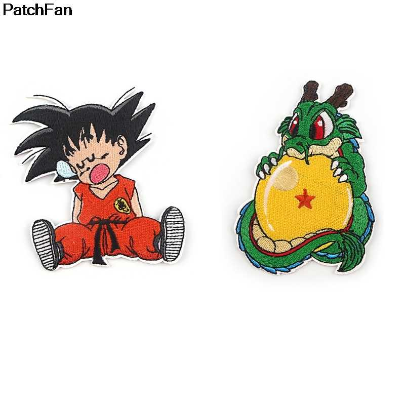 A3752 Patchfan Anime Dragon Ball Applique Toppe E Stemmi Ferro Sul Para Vestiti Camicia Embroideried Sticker Badge