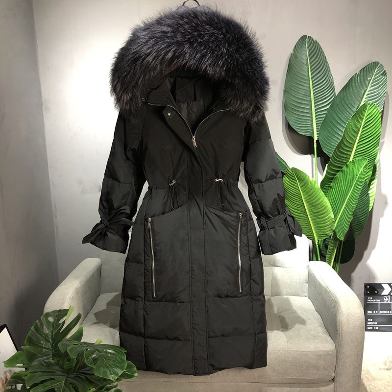 Large Real Raccoon Fur Collar 2019 Winter Women Down Coat Hooded Thicken Warm Long Down Parkas Outwears White Duck Down Jackets