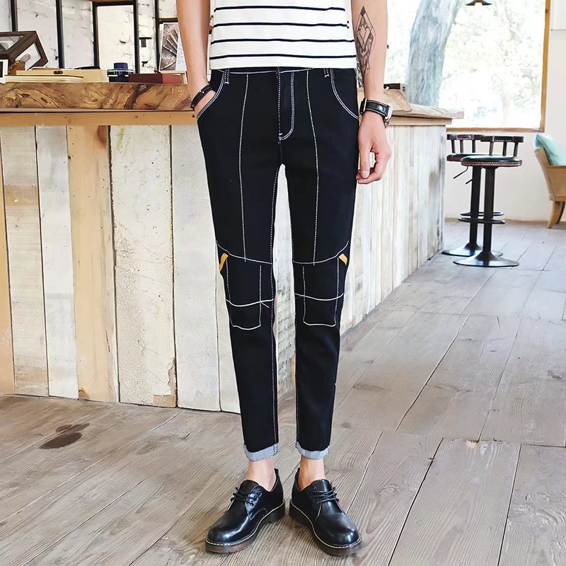 Summer Thin Section Elasticity MEN'S Jeans Men's Slim Fit Pants Korean-style Trend BOY'S Summer Black And White With Pattern Ult