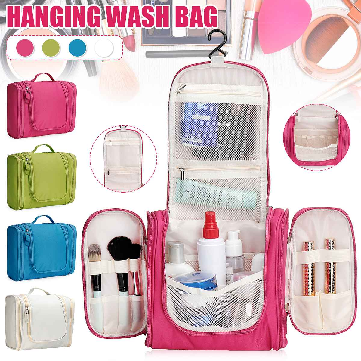 Waterproof Polyester Travel Organizer Bag Unisex Women Cosmetic Bag Hanging Travel Makeup Bags Washing Toiletry Kits Storage Bag