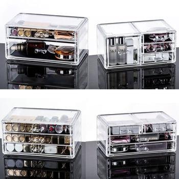 Cajón de Maquillaje Organizador de cosméticos caja de almacenamiento Organizador de Maquillaje caja de plástico transparente pintalabios soporte de exhibición de Joyas