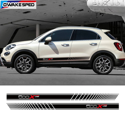 2pcs/lot Car Side Body Sticker For Fiat 500 500x Sport Stripes Decals Racing Styling Auto Door Skirt Stickers