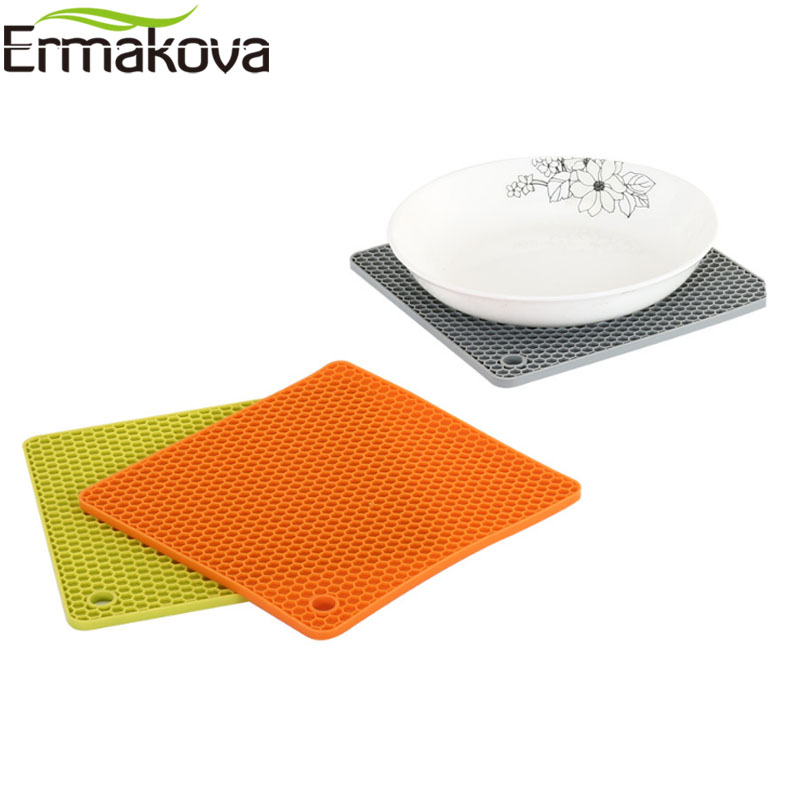 Hot Pads Jar Opener Transer Silicone Trivet Mat and Spoon Rest Multipurpose Kitchen Gadgets:Pot Holder and Table Coaster Heat Resistant /& Dishwasher Safe Green