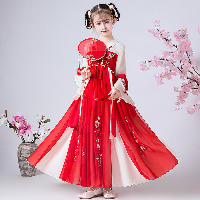 Red Dress New Year Clothes Flower Girl Dress Wedding Bridesmaid Party Chinese Cheongsam Dress Girl Birthday Performing Dress