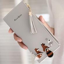 Women Fox Cat Long Wallet Tassel Coin Purse Card Holders Handbag Package Bag portfel damski cartera mujer monederos para mujer
