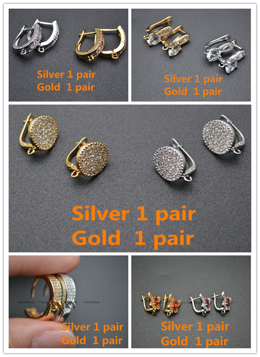 10 Pairs Mix Multi Colored Zircon CZ Beads Pave Variou Shape Gold And Silver Color Earring Hooks Fit Dangle Earrings Making