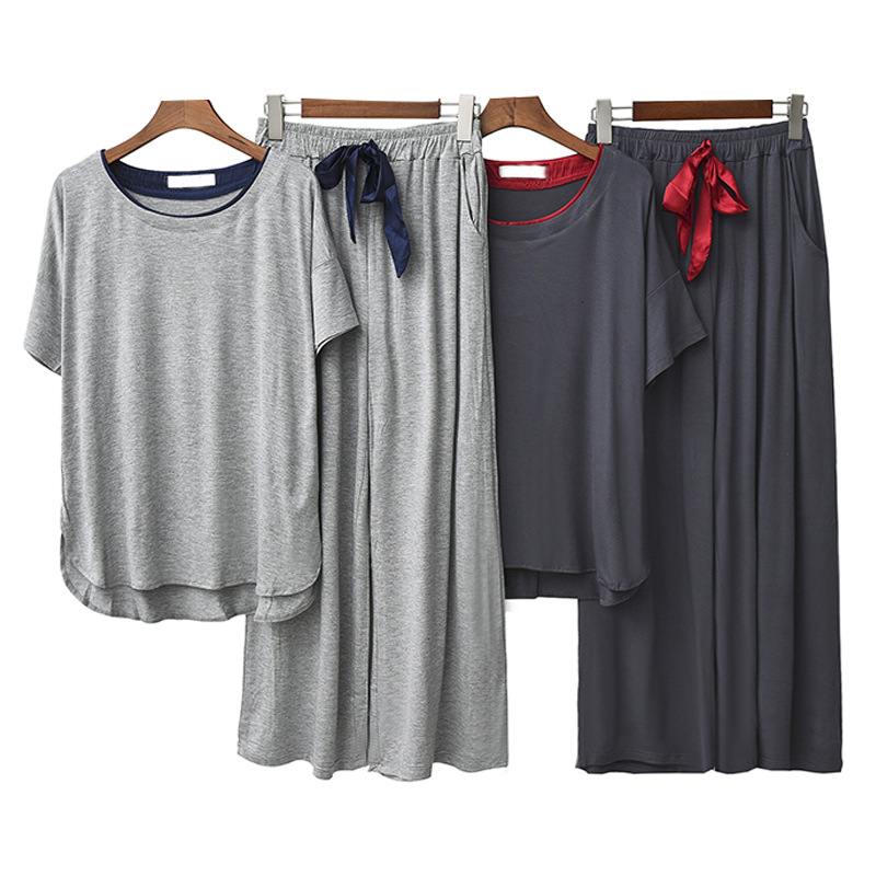 Modal Short Sleeve Sleepwear Autumn Loose Pants   Pajamas   Round Neck Solid Comfortable   Pajama     Sets   Sleep Women Elastic Home Suit