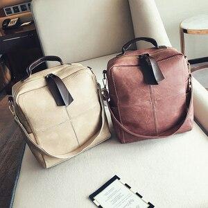 Image 5 - Женский кожаный рюкзак на молнии в стиле ретро, модная школьная сумка, рюкзаки для девочек подростков, многофункциональный рюкзак, сумка на плечо