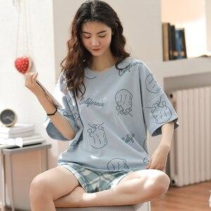 Image 3 - 女性のパジャマセットプラスサイズファム寝間着カジュアルホームウェア部屋着綿パジャマ漫画oネックパジャマM XXL