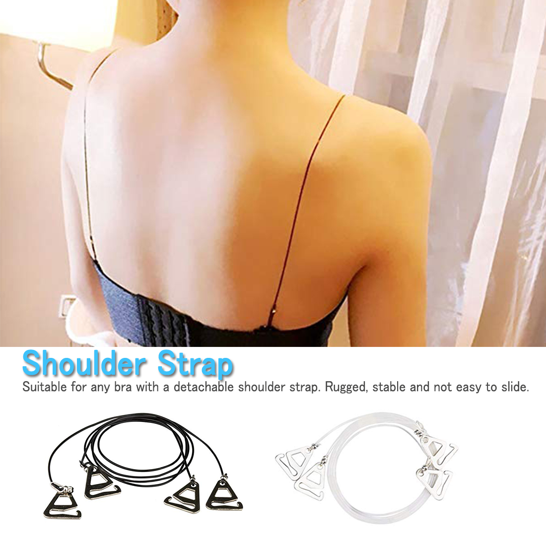Summer Clear Bra Strap Silicone Bra Accessories Bra Shoulder Strap Women Adjustable Transparent Hook Invisible Straps For Ladies