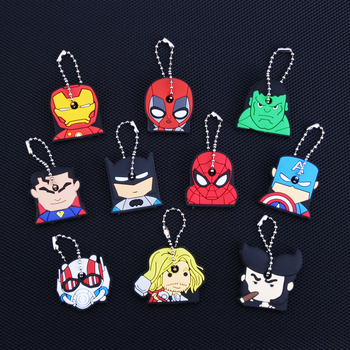 Cartoon Anime Keychain Cute Silicone Batman Spiderman Key Cover Cap Women Gift Iron Man Captain America New Exotic Key Chain