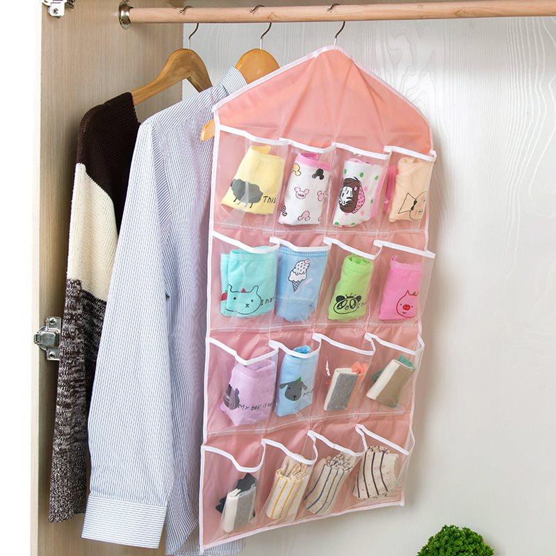 1Pc Multifunction Wardrobe Storage Bag 16 Pocket Door Wall Hanging Package Socks Bra Underwear Clear Sorting Organizers