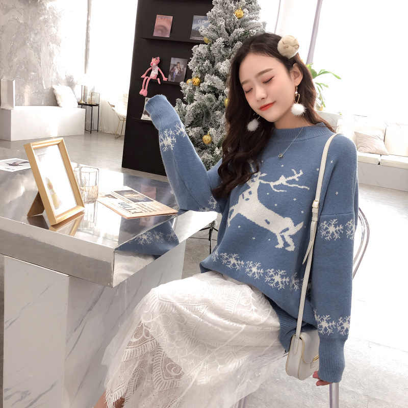 Ugly Christmas Sweater Women Winter 2019 New Year Sweater With Deers Santa Claus Casual Christmas Jumper For Women Knit Pullover