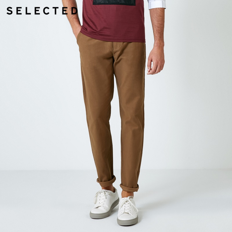 SELECTED Men's Cotton Solid Color Micro-elastic Business Casual Pants Male Trousers S|418414502
