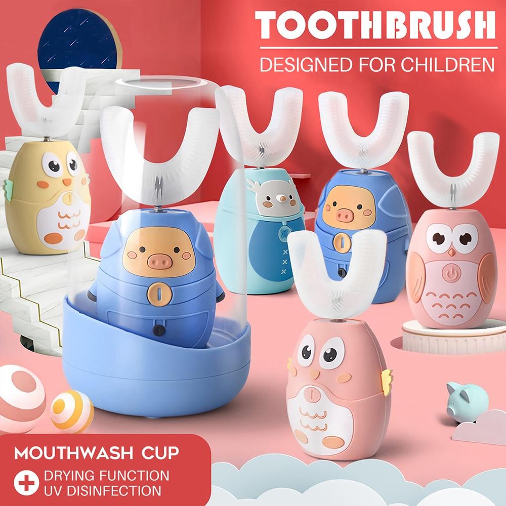 Brosse à dents électrique sonique 360 ° intelligente et automatique, séchage USB, en forme de U, en Silicone, stérilisation UV pour enfants