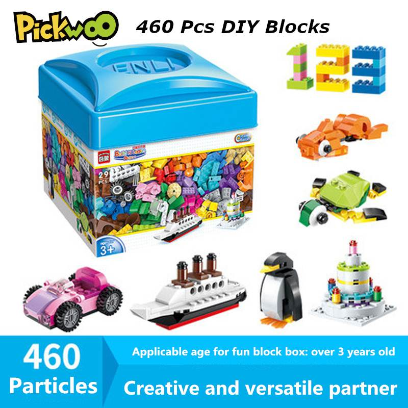 Pickwoo D10 460 шт. DIY строительные блоки креативный классическая игрушка подарок пластмассовый ящик для мелких Размеры кирпичи городские Фигурки...