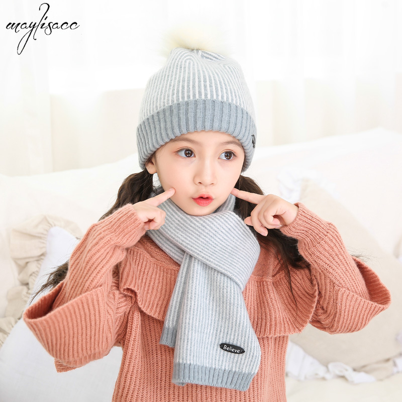 Maylisacc 4-8 Years Old Children's Pompom Hat Scarf Two-piece Set Autumn Winter Warm Korean Boys And Girls Winter Accessories
