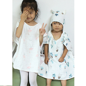 Image 4 - 6 layer Child Hooded Cloak Ultra soft Superabsorbent Muslin Gauze Infants Bath Towel Printing Gauze Beach Towel  Baby  Girls Bab