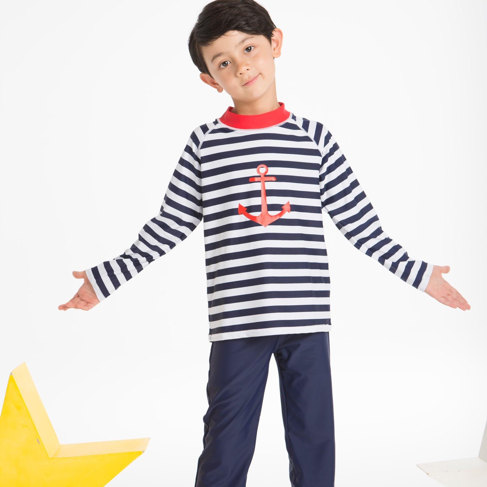 BOY'S Warm Swimsuit Set Large BOY'S Navy Style Sun-resistant Waterproof Mother Quick-Dry Snorkeling Sportswear
