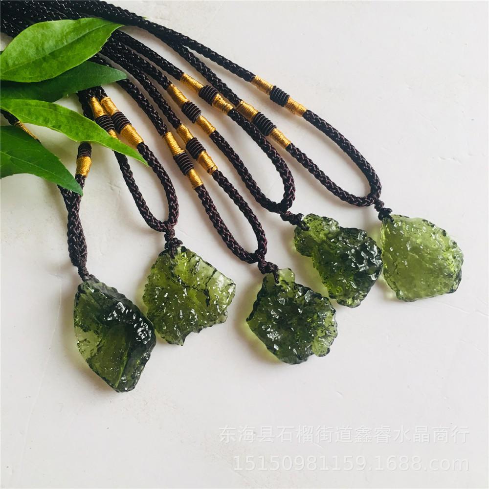 Crystal Green Moldavite Meteorite Glass Necklace