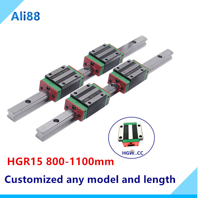 2pcs HGR15 HGH15 Square Linear Guide Rail width 15mm length+4pc Slide Block Carriages HGH15CA/flang HGW15CC CNC Router Engraving