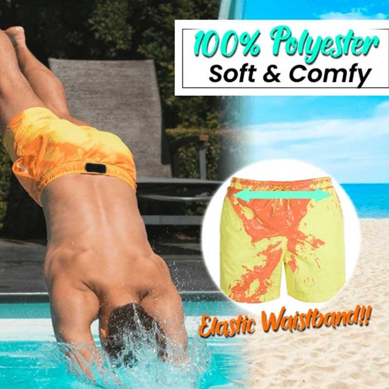 2020 تغيير لون سراويل للسباحة الرجال ملابس السباحة سروال سباحة قصير الرجال شورتات للبحر سراويل الملاكم Sunga تلون ملابس السباحة الرجال
