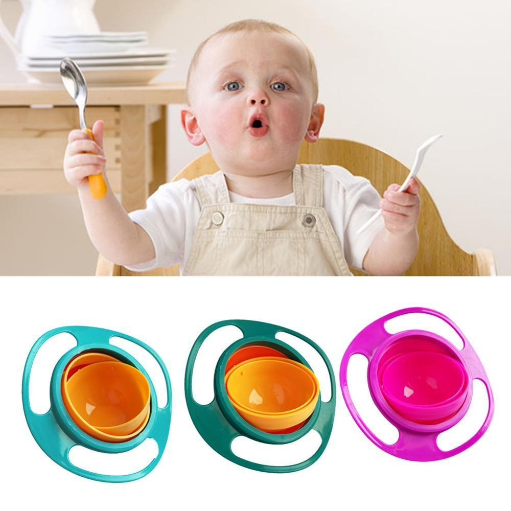 Child Universal Gyro Bowl Children Rotating Balance Bowl Baby Food Dish 360 Rotate Spill-Proof Bowl Kids Anti Messing Bowls
